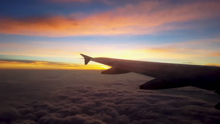 Incredible sunrise from airplane #1013566700