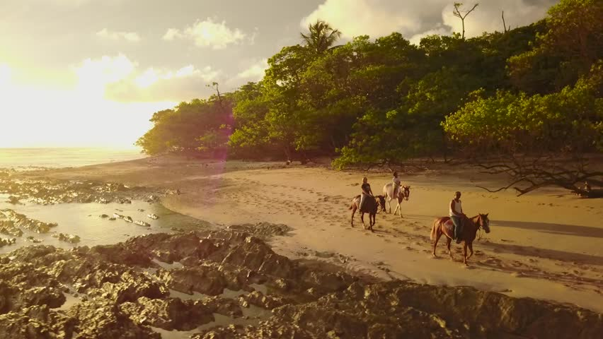 Drone footage of a sunset horseback ride on the beach, just next to the tropical jungle inSanta Teresa, Costa Rican | Shutterstock HD Video #1013575853