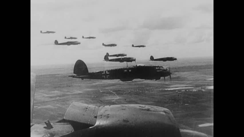 CIRCA 1939 - Polish warplanes are destroyed during aerial combat with the Luftwaffe in World War 2.