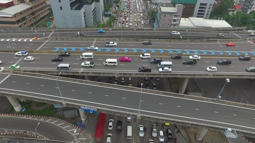 Aerial view of traffic over express way in heart of  bangkok Thailand  #1013620985