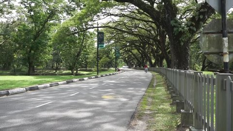 Perak, Malaysia, July 14 2018 - Traffic of various types of cars and motorcycles on the main road under big trees in Malaysia.