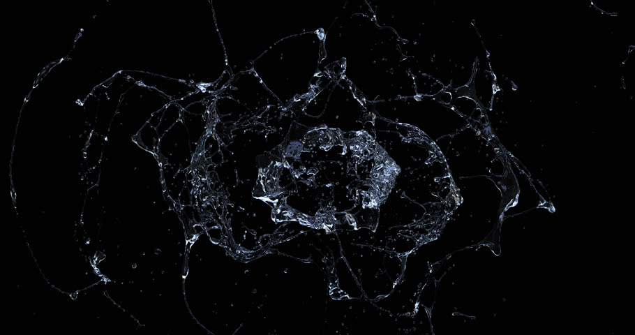 Water splash explode from center around itself. high resolution for element. begin speed and slowly. With alpha channel. #1013630864