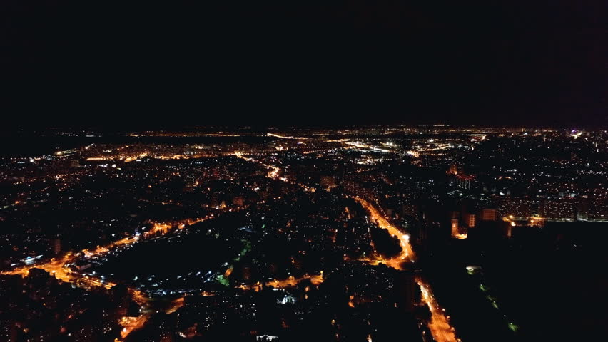 The flight above the city landscape. evening nigth time, quadrocopter shot | Shutterstock HD Video #1013645417