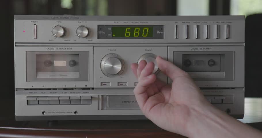 Adjusting AM/FM Radio on Vintage Silver Stereo System