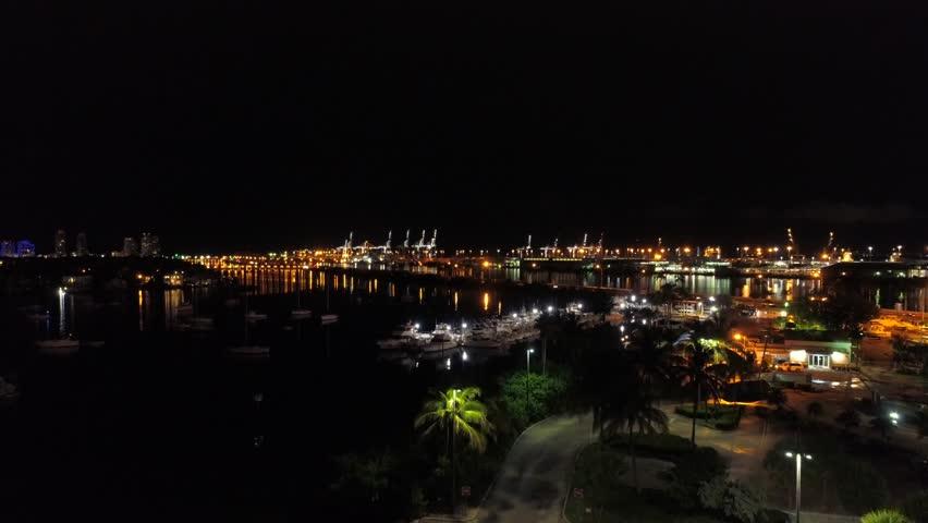 Night drone footage Port Miami   Shutterstock HD Video #1013690897