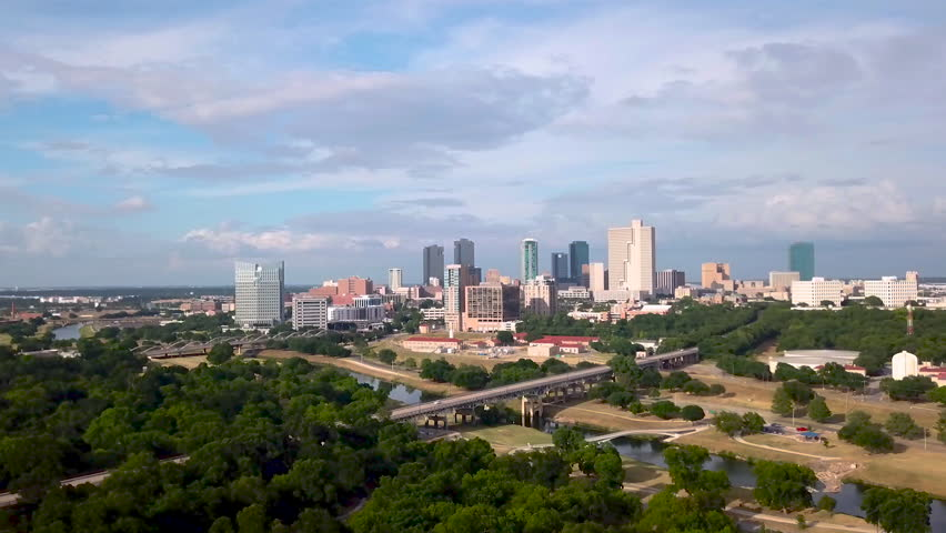 Drone Video of trinity park & downtown fort worth, tx