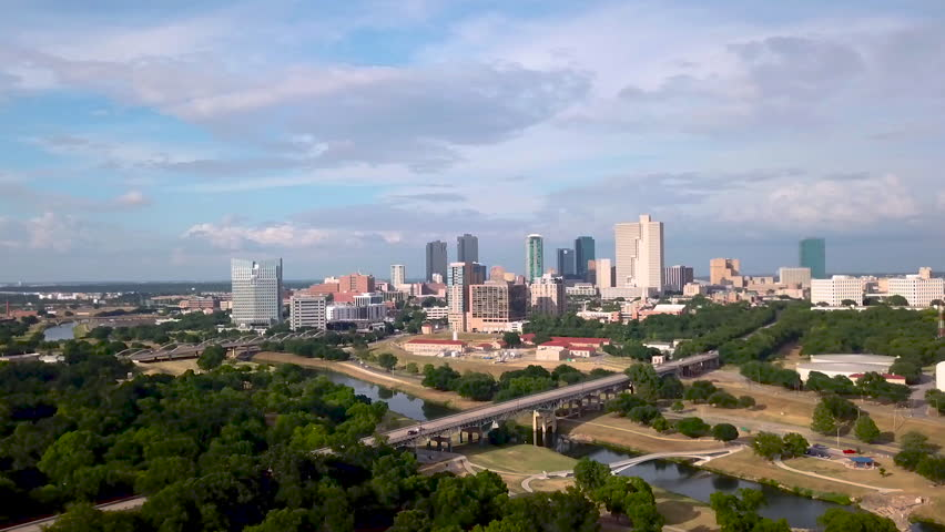 Drone video showing trinity park and downtown fort worth texas