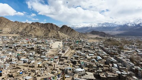 4k, timelapse,Leh Ladakh city and Mountains, Ladakh, India. (Move Down-Up)