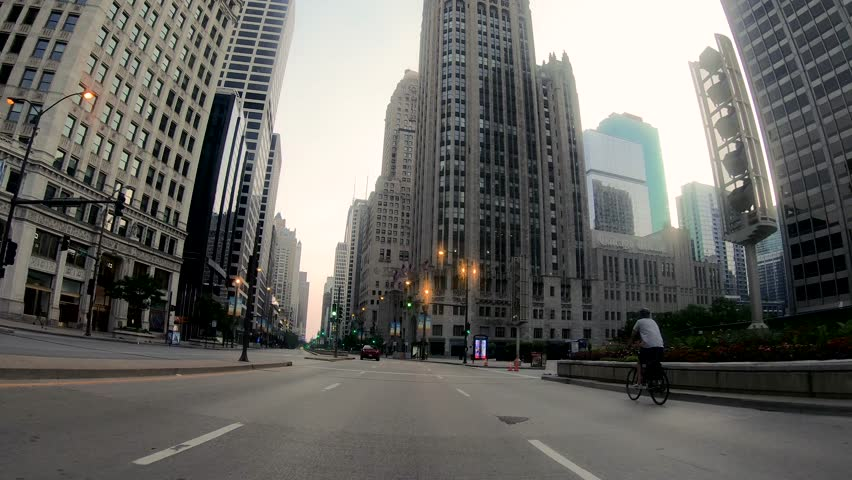 Driving through Chicago downtown past its famous skyline and buildings. | Shutterstock HD Video #1013721455