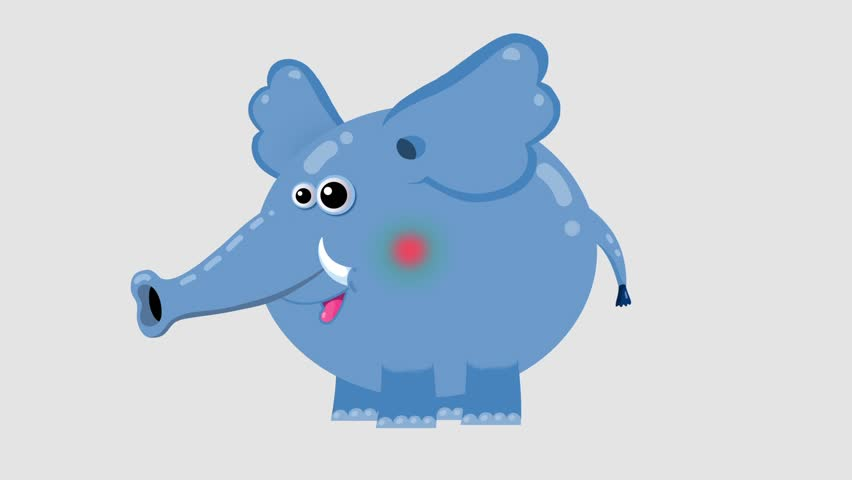 Isolated blue cartoon elephant character moves 1. Walking, running, sitting, standing with seamless transitions. Alpha channel. Animal without outline. Good for film, presentation, etc...