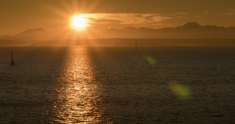 Time lapse of sunset over Bainbridge Island from Downtown Seattle, Seattle, Washington, USA, North America | Shutterstock HD Video #1013732510