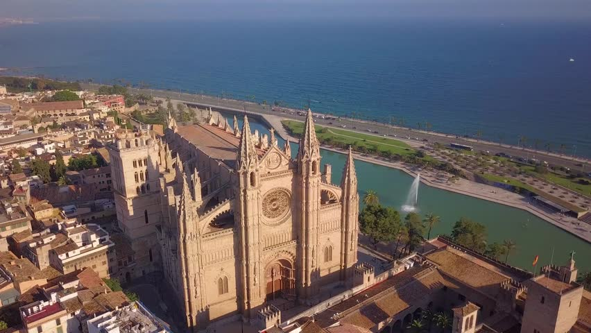 Famous Cathedral La Seu in Palma de Mallorca Spain.