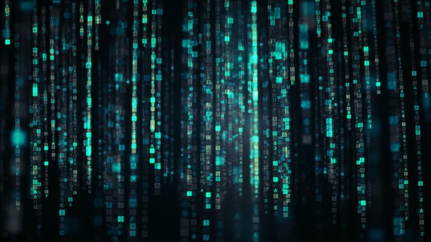 Columns of blue HEX digital code symbols. Futuristic big data information technology concept. Computer generated seamless loop animation 4k (4096x2304) | Shutterstock HD Video #1013746592
