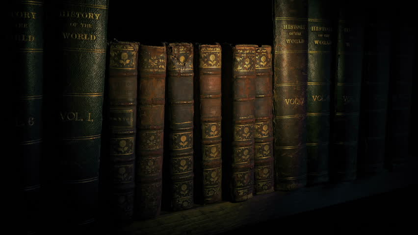 Torch Lights Up Old Books On Shelf. 3 Versions