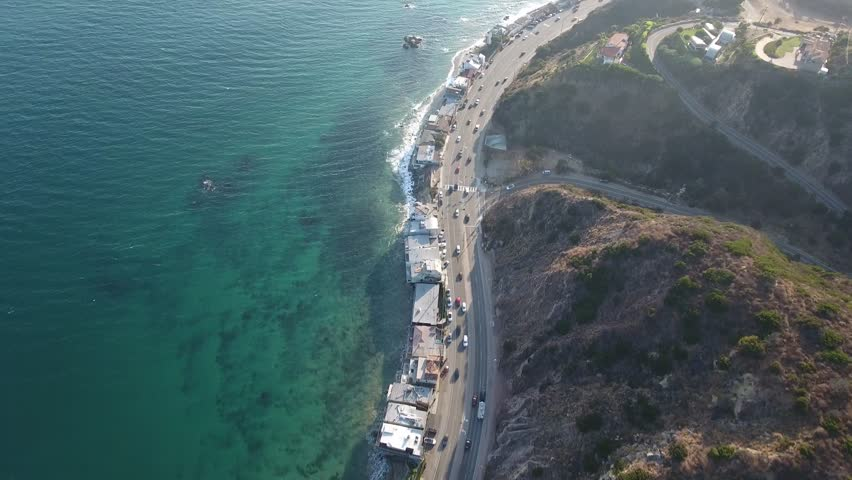 Late afternoon drone shot in Malibu, CA over the PCH.