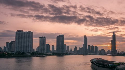 4k time lapse, Dramatic sky over Bangkok Metropolis at dusk