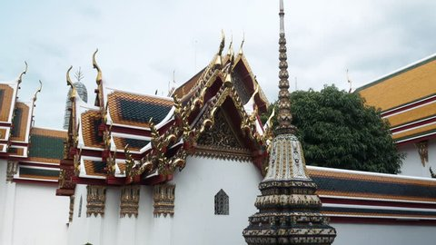 Wat Pho Bangkok Thailand - Colorful Roofing texture and patterns in Temple of Reclining Buddha Architecture