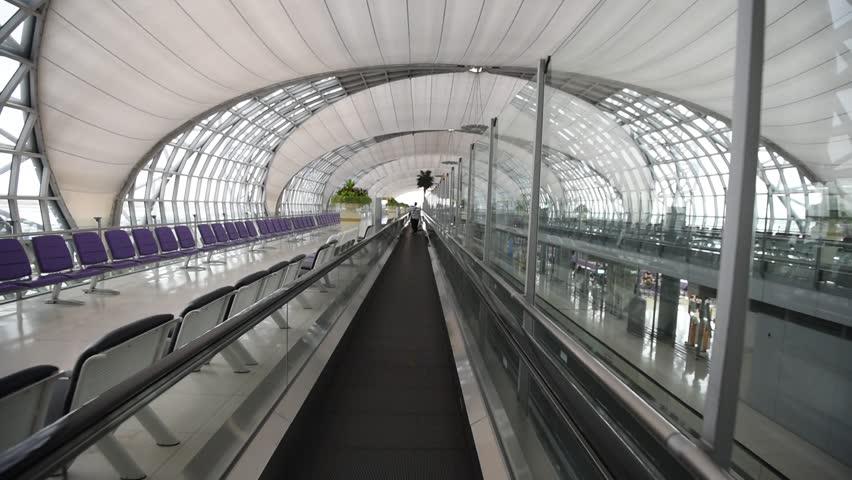HD: BANGKOK- february 07 : Suvanaphumi Airport, Bangkok on february 07, 2018. Suvarnabhumi airport is world's 4th largest single-building airport terminal.   Shutterstock HD Video #1013880590