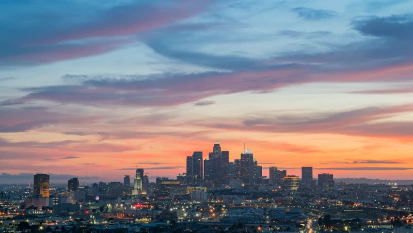 Sunset to night motion timelapse of the beautiful Los Angeles skyline, California | Shutterstock HD Video #1013880719