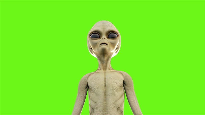 Alien presses the button. Loopable animation on green screen. 4k.