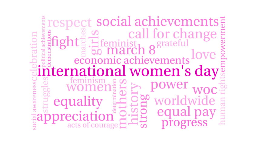 International Women's Day word cloud on a white background. Royalty-Free Stock Footage #1013882978
