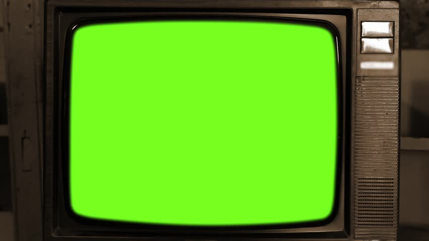 """Vintage Grundig Television with Green Screen. Zoom In. Sepia Tone. You can replace green screen with the footage or picture you want. You can do it with """"Keying"""" effect in After Effects. 