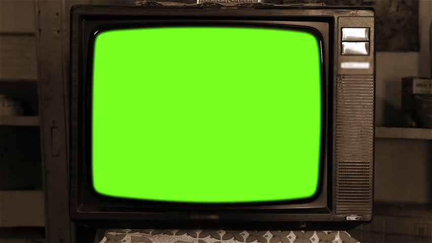 """Vintage Grundig Television with Green Screen. Sepia Tone. You can replace green screen with the footage or picture you want. You can do it with """"Keying"""" effect in After Effects. 