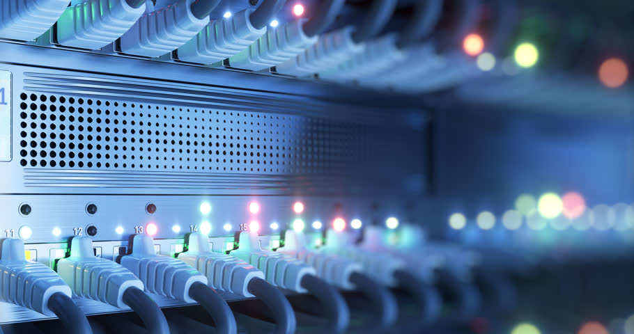 Connection Technology. Data center cloud network router and switch. 4k UHD seamless loop Royalty-Free Stock Footage #1013907023