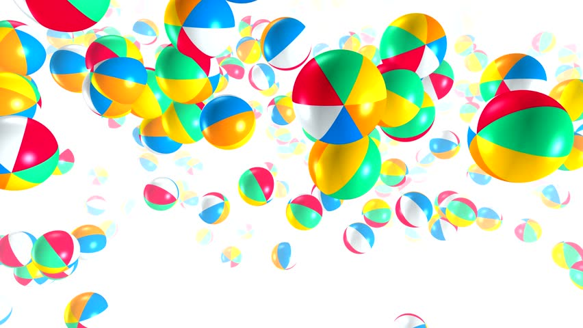 Beach balls fly and jump against a white background. 3D animation of round objects with bright colors on the background of a fog in the fog.