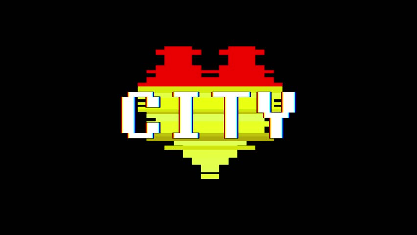 pixel heart CITY word text glitch interference screen seamless loop animation background new dynamic retro vintage joyful colorful video footage #1013955518
