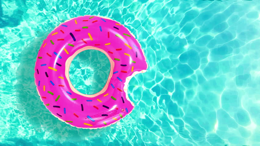 Floating rubber ring in water pool, Inflatable pool toy donut in swimming pool Top view of water surface texture,  sun shine bright water-pool looping slow motion background, 3d simulation animation