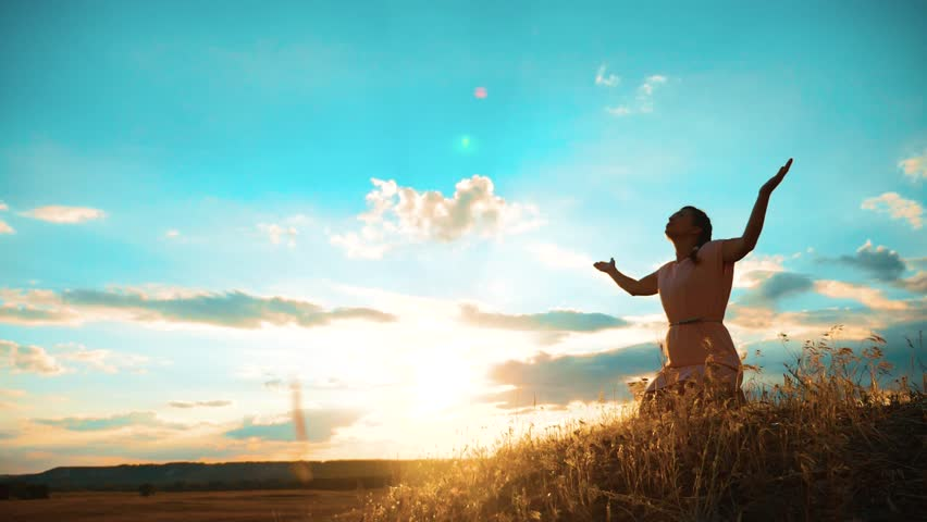 Girl folded her hands in prayer silhouette at sunset. woman praying on her knees. slow motion video lifestyle. Girl folded her hands in prayer pray to God. the girl praying asks forgiveness for sins | Shutterstock HD Video #1013967155