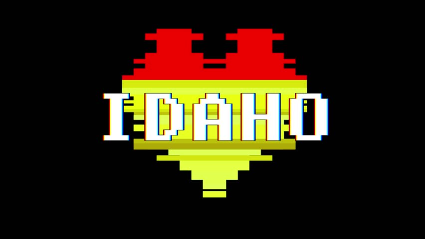 Pixel heart IDAHO word text glitch interference screen seamless loop animation background new dynamic retro vintage joyful colorful video footage | Shutterstock HD Video #1013972834