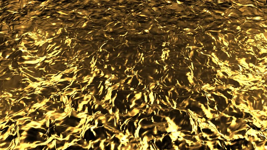 Animation of flow golden liquid with animated reflections. Wave and ripple on gold surface.  Abstract golden wave pattern background animation