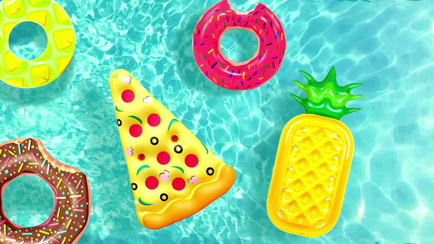 Cool Inflatable pool toy pizza, donut Floating in water pool or sea animation. Water toy in Swimming pool Top view of water surface texture,  sun shine bright water-pool looping slow motion background