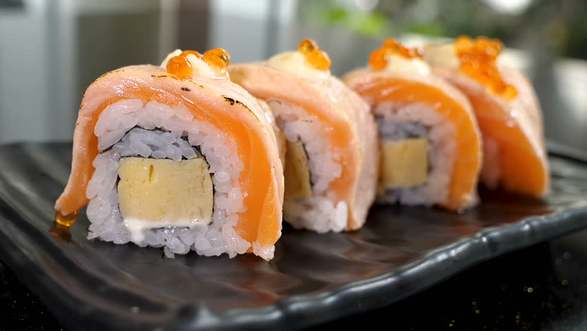 Grill Salmon Roll Sushi On Stock Footage Video 100 Royalty Free 1014005351 Shutterstock