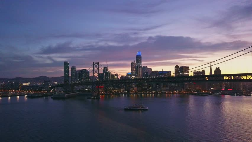 Aerial cityscape video of San Francisco at sunset | Shutterstock HD Video #1014006329