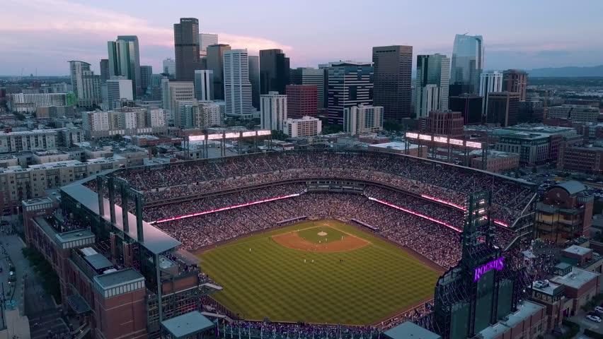Denver, Colorado - 7/14/18 - Aerial footage of the skyline of Denver at sunset