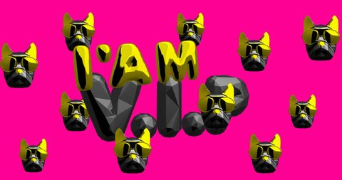 Motion fashion art. VIP vibes. Swag fashion mood. Bulldog 3d art