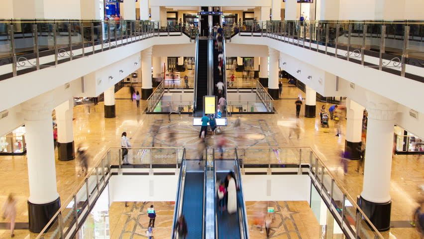 Shopping Mall fast flow of people on escalators time-lapse Royalty-Free Stock Footage #1014045704