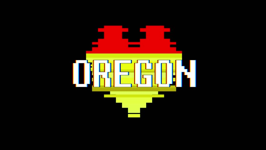 Pixel heart OREGON word text glitch interference screen seamless loop animation background new dynamic retro vintage joyful colorful video footage | Shutterstock HD Video #1014046418
