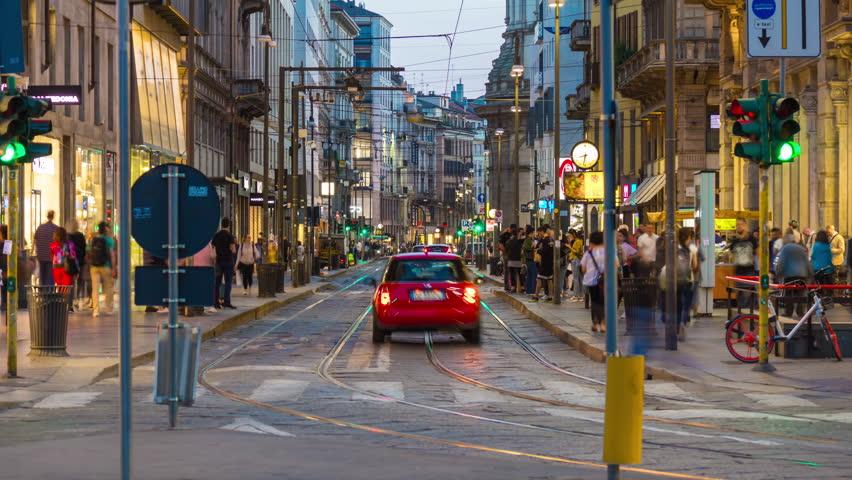 evening illuminated milan city traffic street panorama 4k timelapse italy Royalty-Free Stock Footage #1014053144
