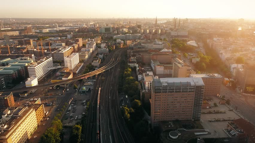 Aerial view of lots of railways in city of Hamburg, Germany. Sunset. Uban - Berliner Tor station.