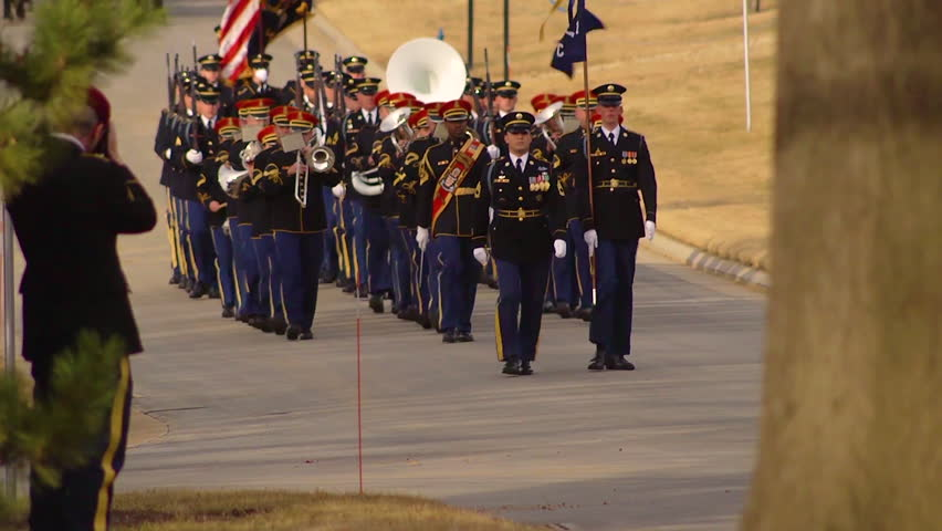 2018 - A military band leads off a processional honoring U.S. Army Sgt. 1st Class Mihail Golin before he is laid to rest at Arlington.