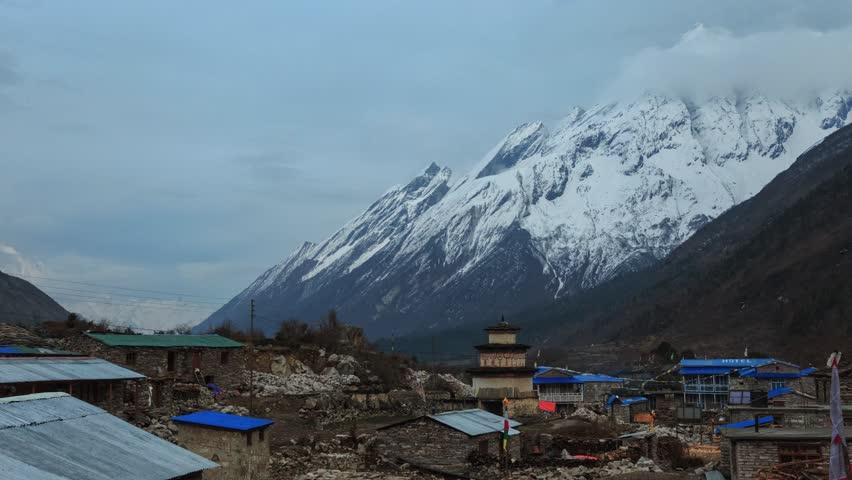 Himalayas, mountains. Evening in the village of Samagaon. Trekking around Manaslu  | Shutterstock HD Video #1014075590