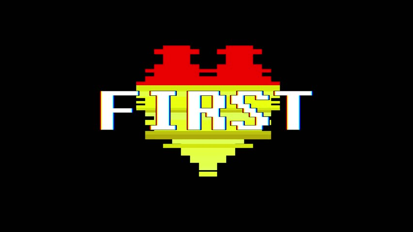 pixel heart FIRST word text glitch interference screen seamless loop animation background new dynamic retro vintage joyful colorful video footage #1014084695