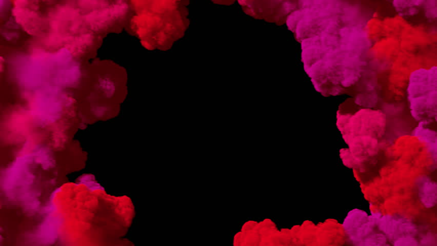 Spreading colored smoke, wiping frame concentrically inwards. Good for wipe transitions & overlay effects. Separated on pure black background, contains alpha channel. | Shutterstock HD Video #1014086312