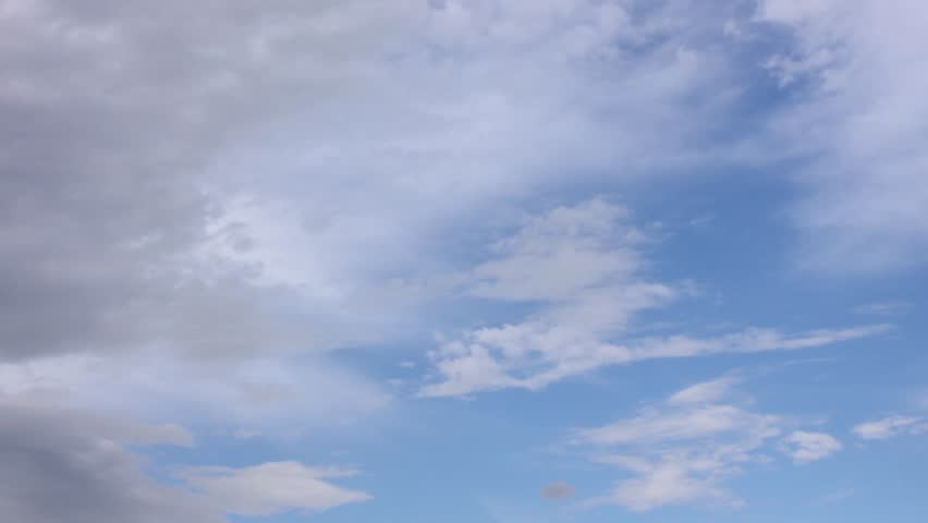 Skyscape or cloudscape. Blue sky with white clouds moving across it. Weather. Time lapse. 4K, UHD. | Shutterstock HD Video #1014091079
