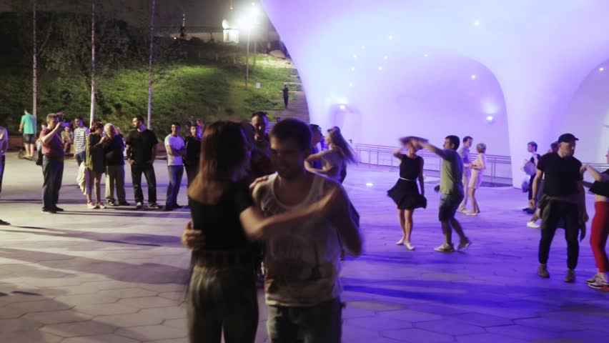 RUSSIA, MOSCOW - Jule 15, 2018: Dancing in Zaryadye Park at night in Jule 2018 in Moscow Russian Federation