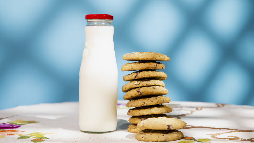Animation of a pile of cookies being eaten and a bottle of milk emptying out. Creative design background.    Shutterstock HD Video #1014108713